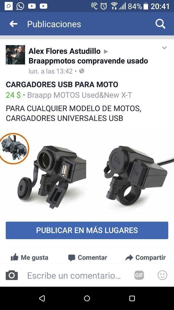 Cargadores Usb para Moto