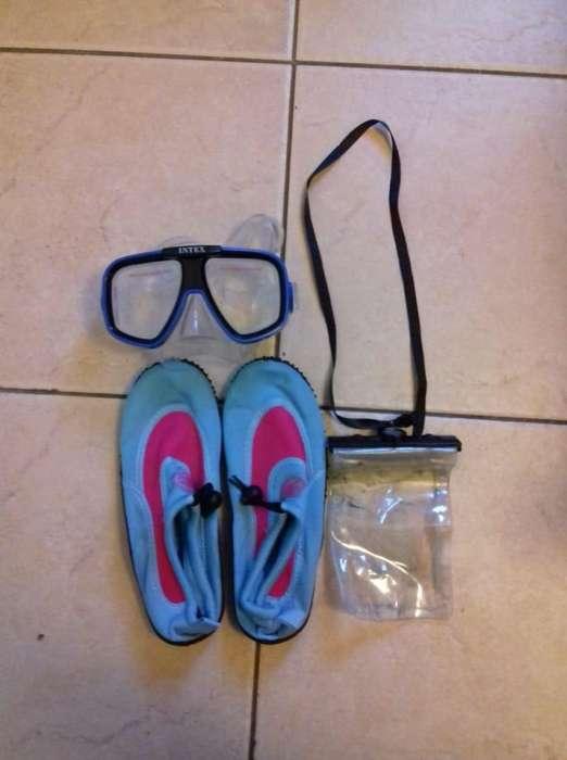 Antiparras, zapatos para el agua N 38 y cubre celular