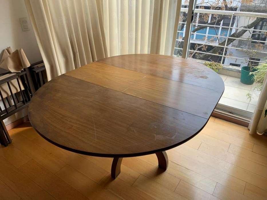 Mesa de madera antigua redonda extensible 6 Sillas de madera plegables