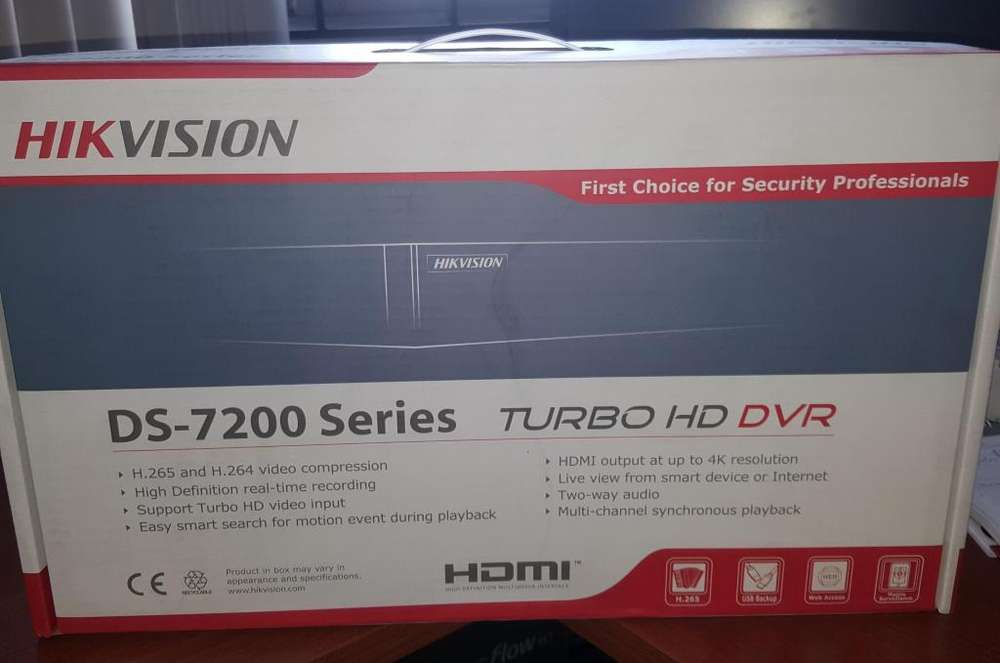 DVR Hikvision modelo DS7208HQHIK1 8 canales con HDD WD Purple 1TB