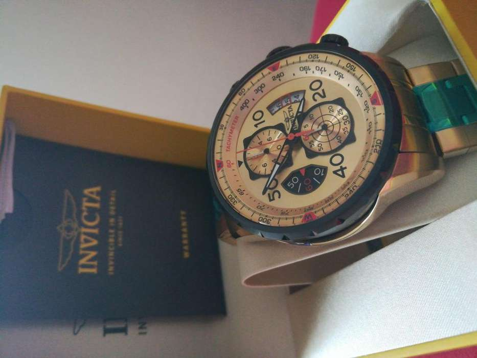 Reloj Invicta Aviator dorado, chapado oro. Relojes hombre Fossil Casio Diesel