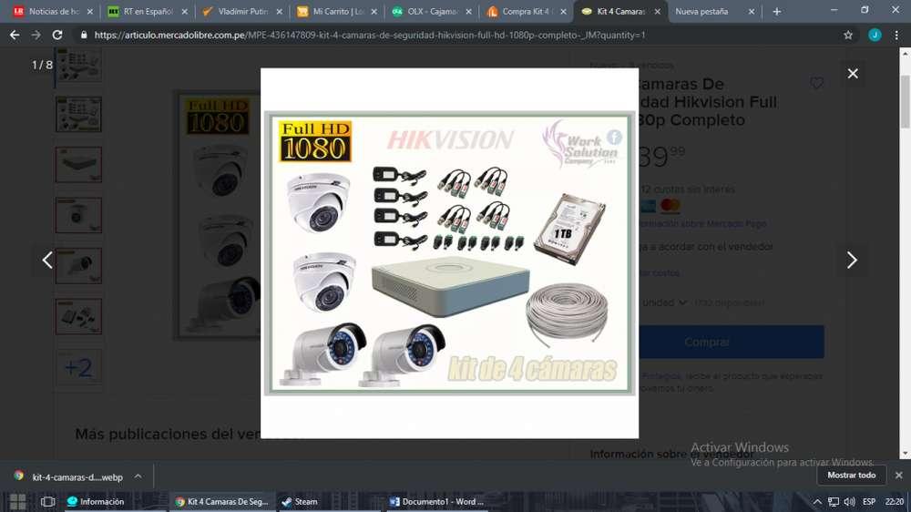 Kit 4 Cámaras Seguridad HikVision FULL HD 1080p