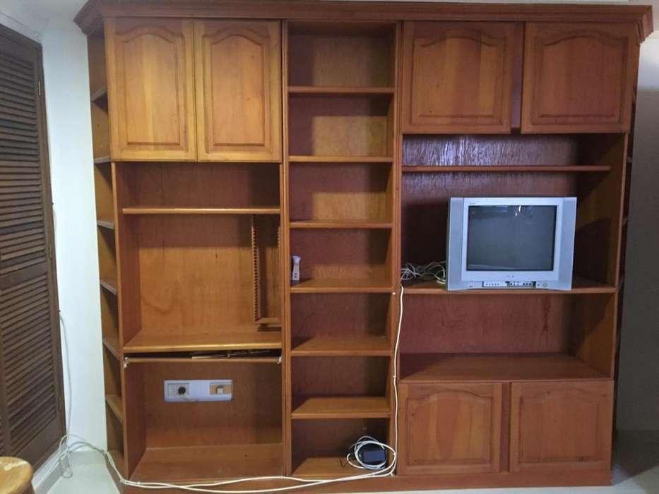 Closet Mueble Biblioteca Multiuso Pc Tv Madera Cedro