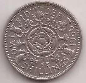 Gran Bretaña Moneda De 2 Shilling Año 1966