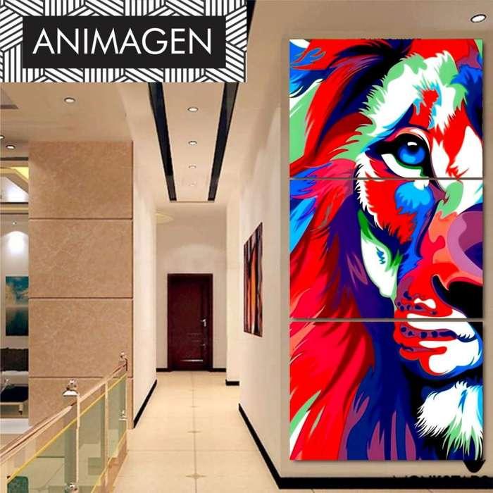 Cuadro triptico decorativo de leon 4297