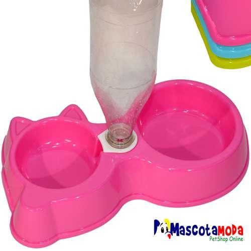 Platos dobles con bebedero adaptable a botellas para perro y gato