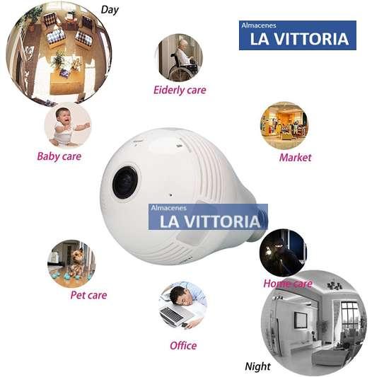 Foco Led Camara Espia Ip 360 Grados Wifi Monitoreo Celular