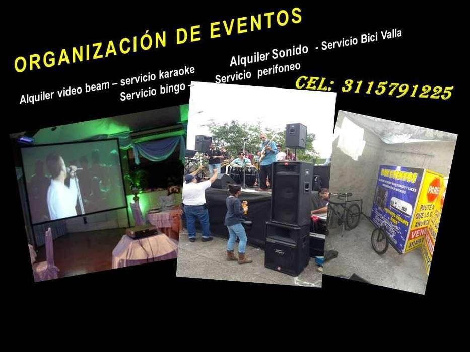 ORGANIZACION EVENTOS, ALQUILER VIDEO BEAM, ALQUILER SONIDO, SERVICIO BINGO KARAOKE, BICI VALLA 3115791225