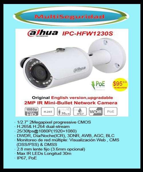TUBO EXTERIOR IP HD DAHUA 1080P DHIPCHFW1230SS3 2.0MP PoE