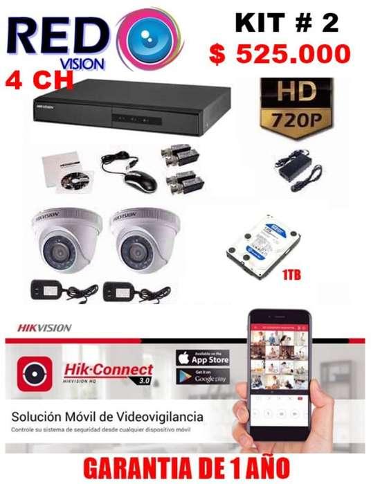 KIT 2 CAMARAS DE SEGURIDAD HIKVISION TURBO HD 720