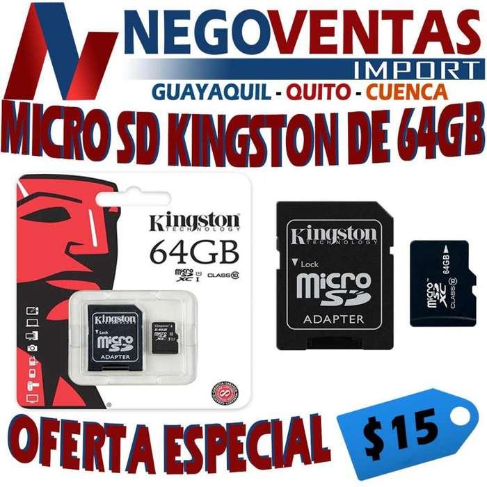 MICRO SD KINNGSTON DE 64 GB TARJETA DE MEMORIA