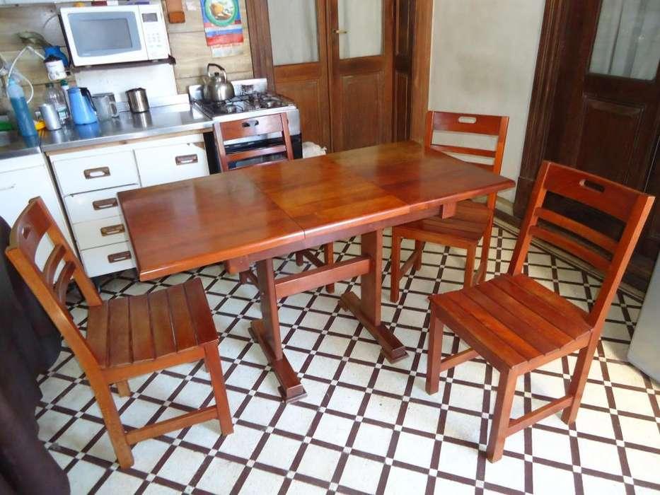 mesa de algarrobo extensible 4 sillas