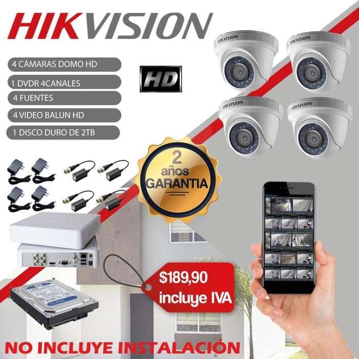 Kit camaras de seguridad Quito con dvr y disco duro camaras de vigilancia Hikvision hd vision nocturna