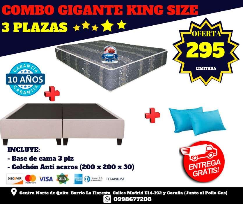(OFERTA 3 PLAZAS) King Size !!! *Por solo 295 BASE mas COLCHÒN Garantìa 10 años mas 2 Almohadas wsp 0998677208*