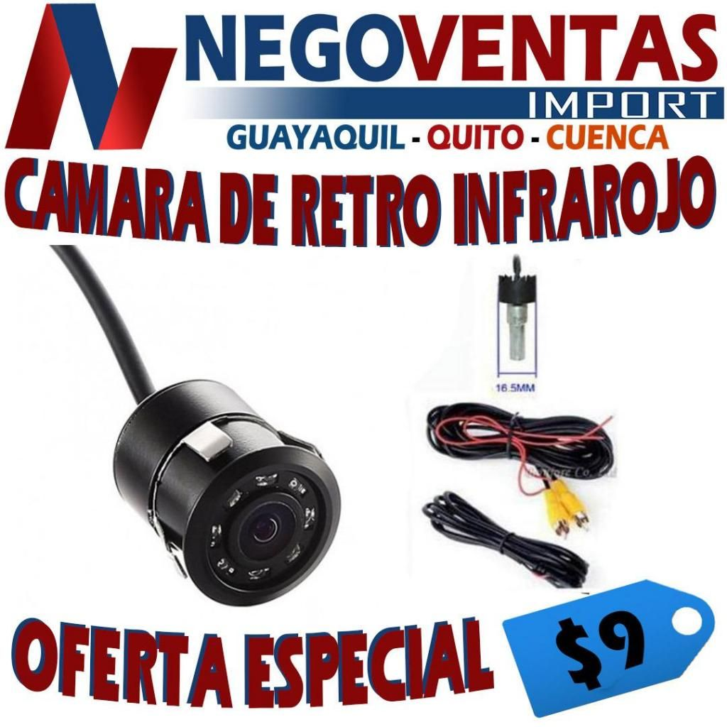 CAMARA DE RETRO INFRAROJO CON LUCES LED HD PARA CARRO