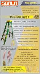 Escalera dielectrica tijera 8 peldaños 2,44 metros reforzada SCALA
