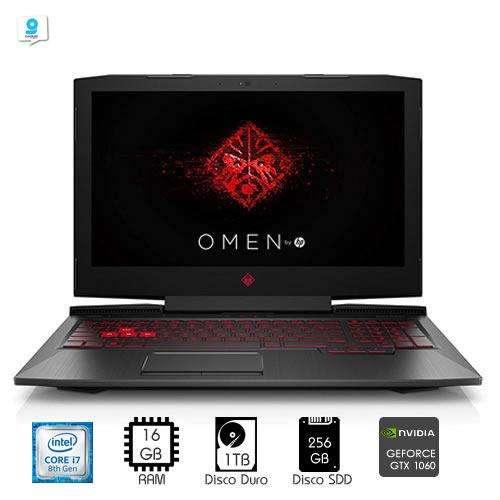 Laptop gamer HP Omen i7-8750H 16GB RAM 256GB SSD 1TB NVIDIA 1060 6GB 15.6