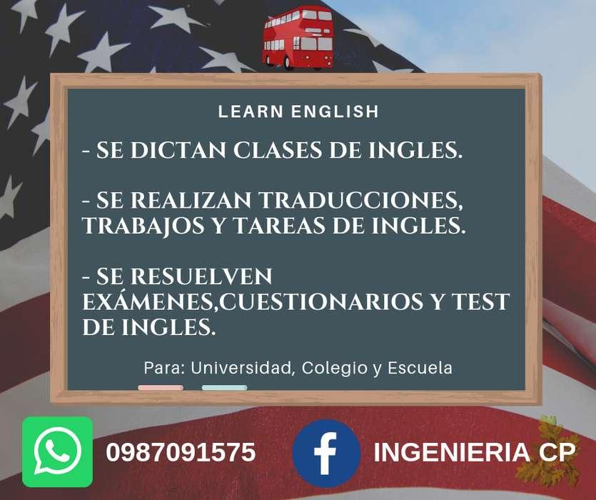 0987091575 Se dictan clases de inglés. Se realizan traducciones, trabajos y tareas de inglés. Se resuelven exámenes.