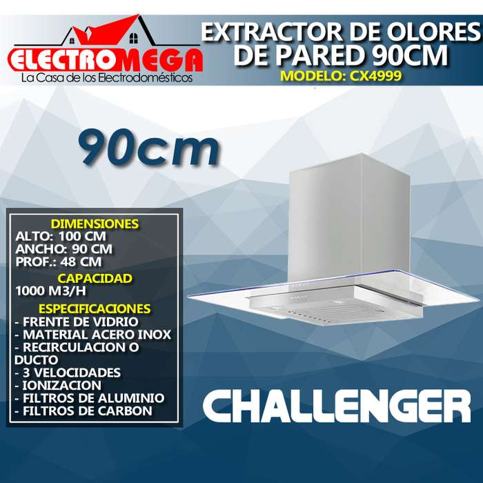 Campana Extractor De Olores Challenger De Pared 90cm Cx4999