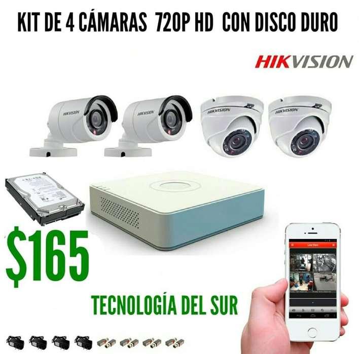 KIT DE 4 CÁMARAS DE SEGURIDAD HD INCLUYE CON DISCO DURO