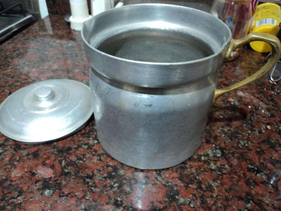 antigua lechera con tapa <strong>aluminio</strong> marfon y manija de bronce