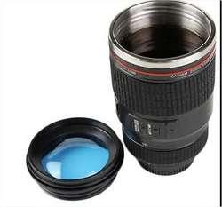 TAZA TERMICA EN FORMA DE LENTE FOTOGRAFICO  LUPA C/TAPA CANIAN (2992)