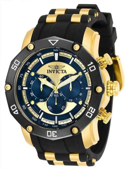 Reloj Hombre Invicta Pro Diver Dorado Azul Crono 30079