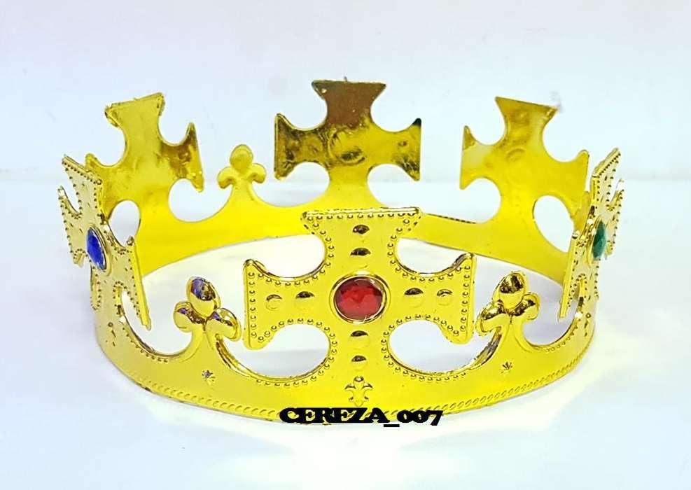 10 Corona De Rey Dorada cruz Con Gemas Cotillon Luminoso
