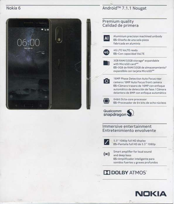 CELULAR Nokia 6 Nuevo