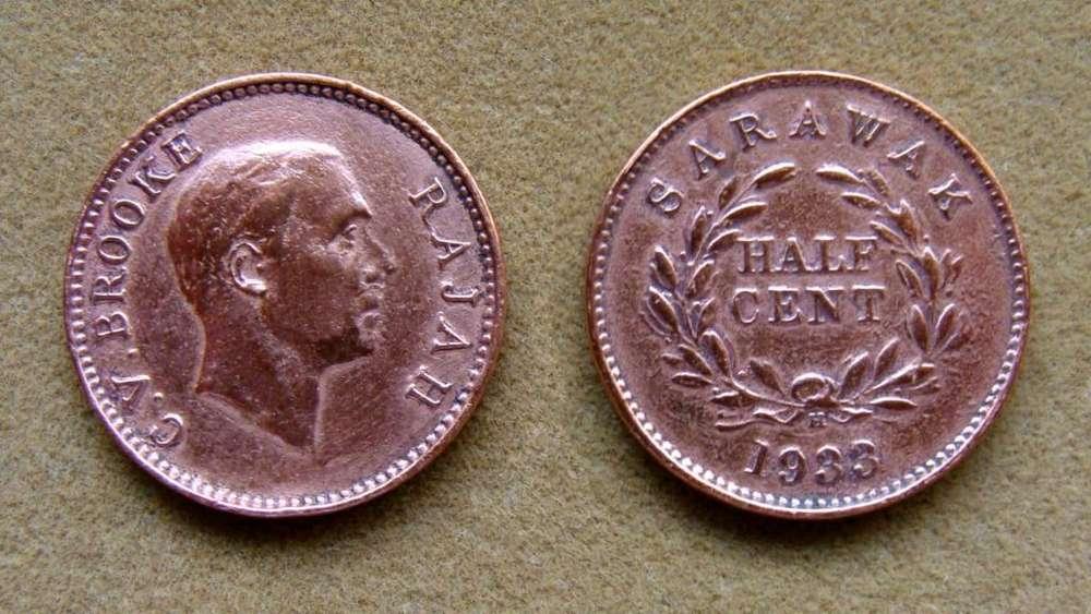 Moneda de 1/2 cent Sarawak 1933