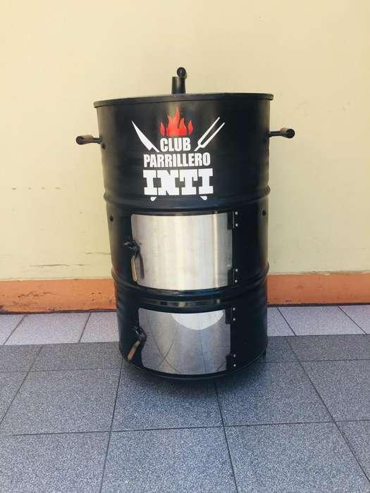 Cilindro Parrillero Grande 3 Parrillas Internas 4 Ganchos para Pollo Carne