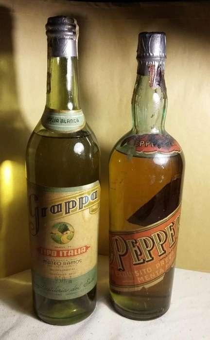 Botellas sin abrir Grappa y Peppermint. De colección. Unicas!