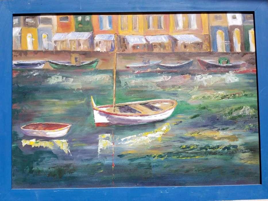 Botes y Lanchas Cuadro al Óleo