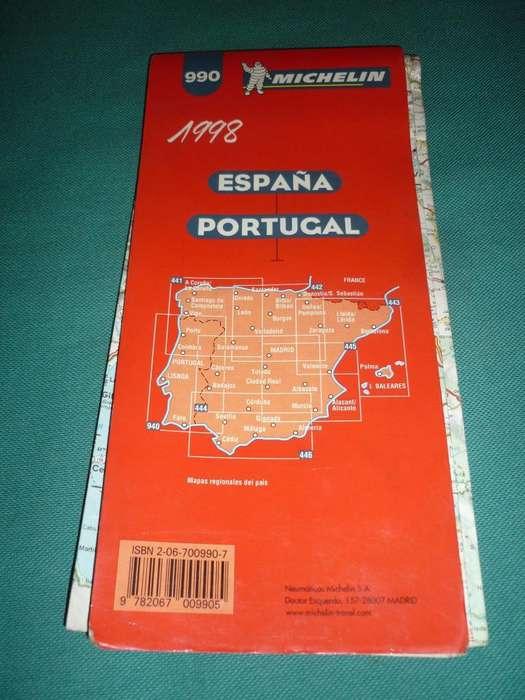 MAPA DE CARRETERAS Y TURISTICO MICHELIN RUTAS DE ESPAÑA Y PORTUGAL 1998