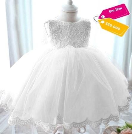 Vestido Niña Bebe Blanco Moño