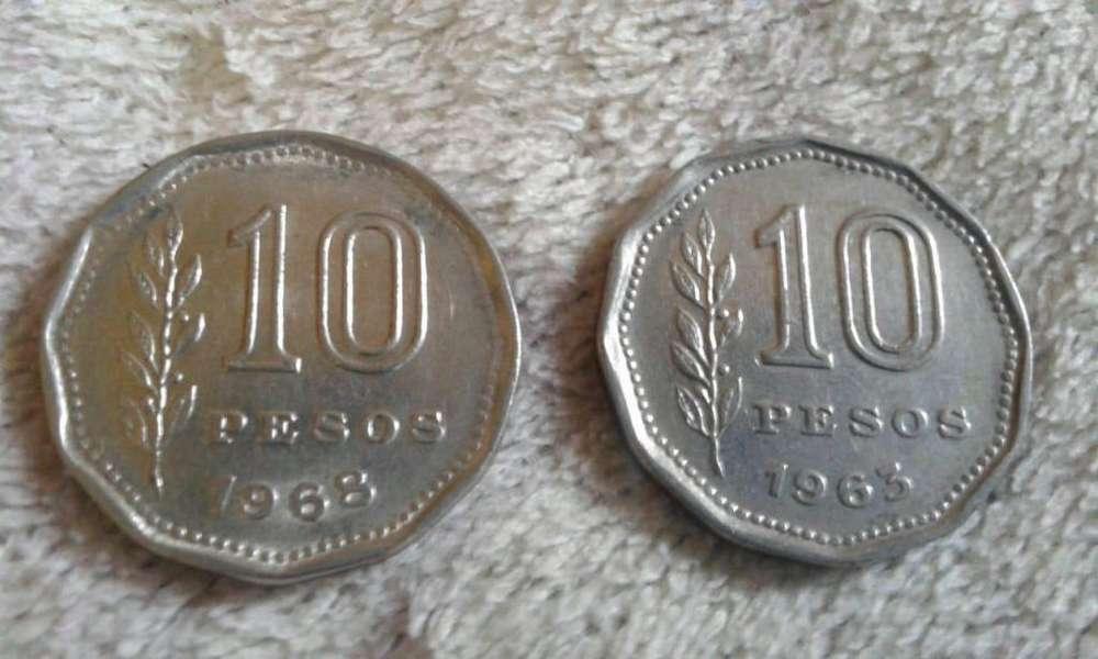 Moneda Argentina De 10 Pesos De Los Años 1968 y 1963