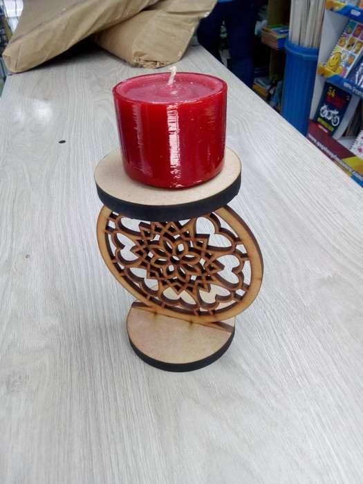 Candelabro Circular en madera