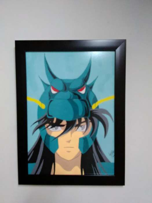 Pintura en acrílicos de Shiryu de Dragón con marco y vidrio anti reflejo