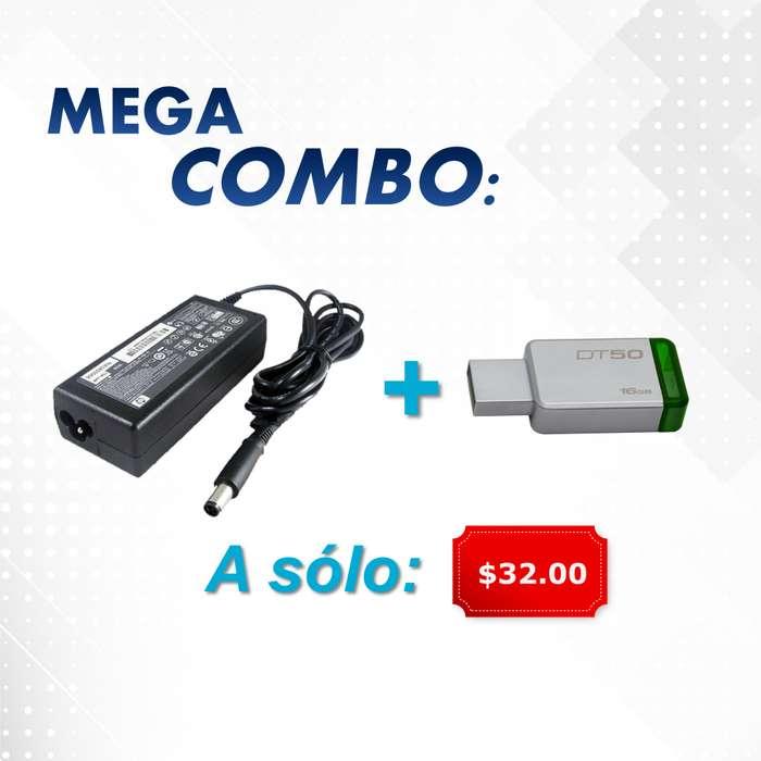 Mega combo en cargador de laptop y pen drive 16GB Totalmente nuevos