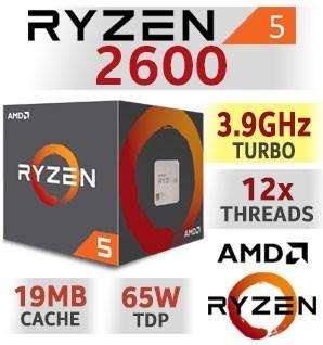 Ryzen 5 2600 Velocidad de 3.9 12 hilos.