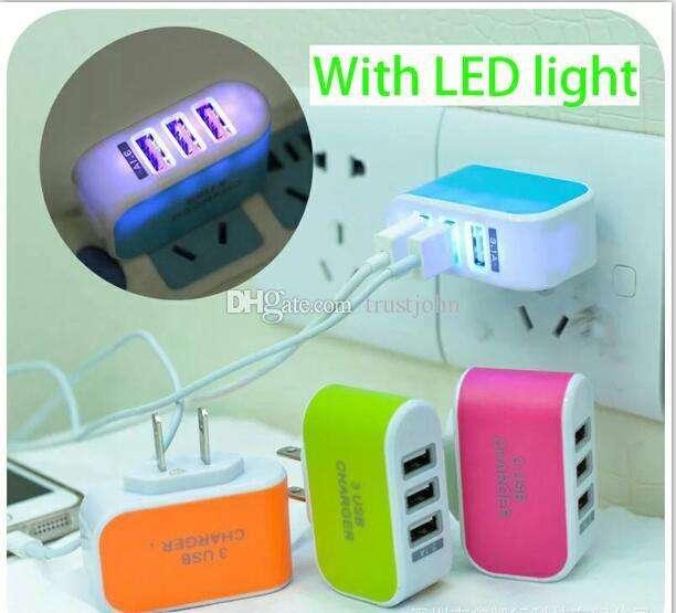 Cargador rápido con luz led y 3 servicios de carga