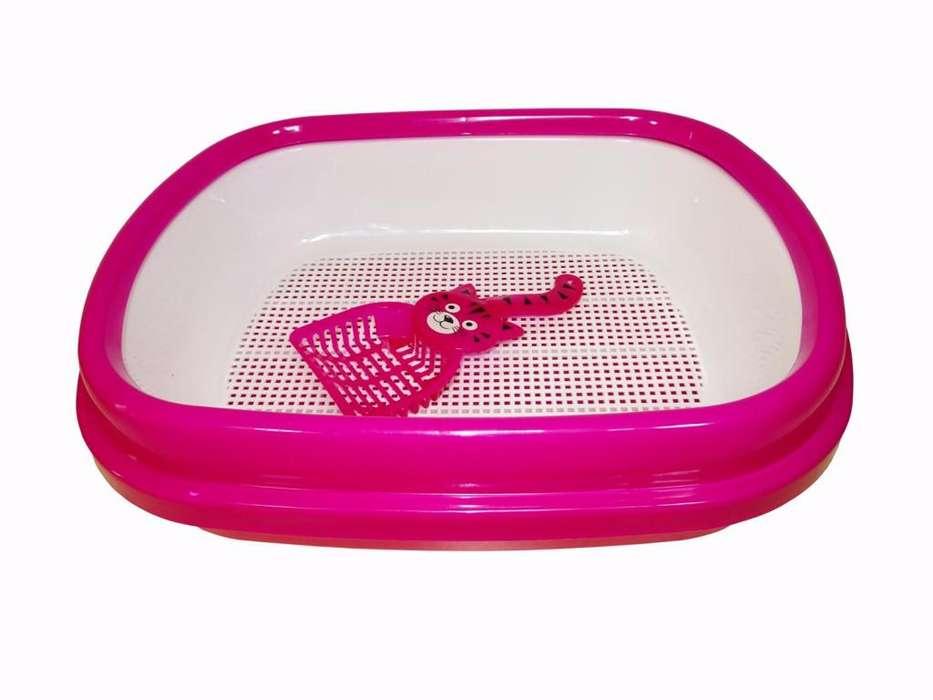 Baño Bandeja Arenero para <strong>gato</strong>s. Con cernidor, borde antiderrame y pala. 2 tamaños disponibles