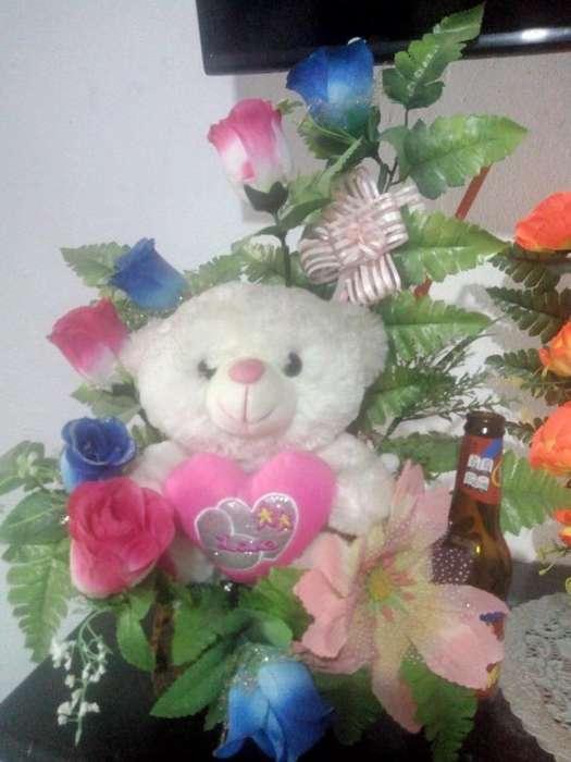 Peluches con Flores Artificiales