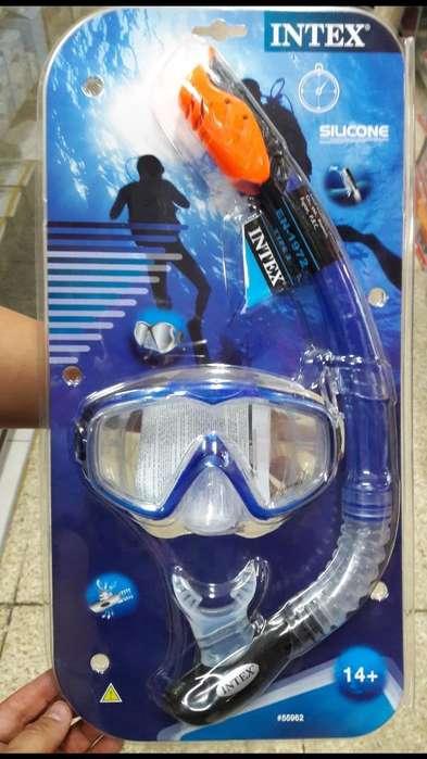 Snorkel Careta Buceo Gafas Intex Acuatic