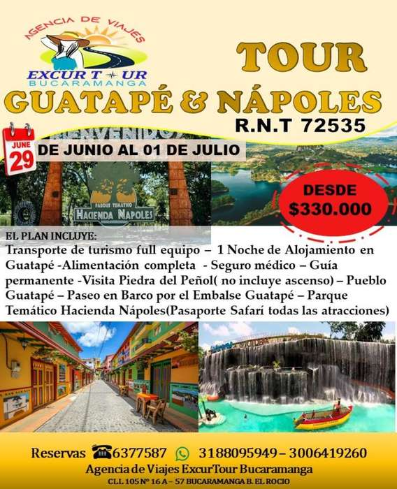 Tour Guatapé Y Nápoles Salida de Bucaram