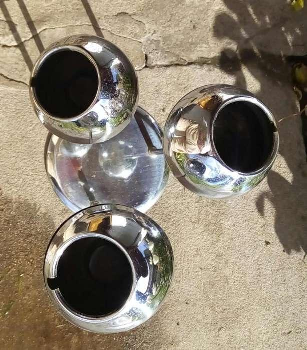 Raro ùnico cenicero de pie esferas cromadas diseño retro vintage