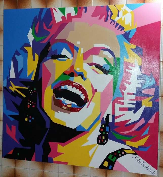 Pintura de Marilyn Monroe Acrilica sobre lienzo 110 cm 110 cm