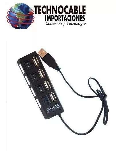 Hub Usb 4 Puertos 2.0 Con Interruptores Individuales