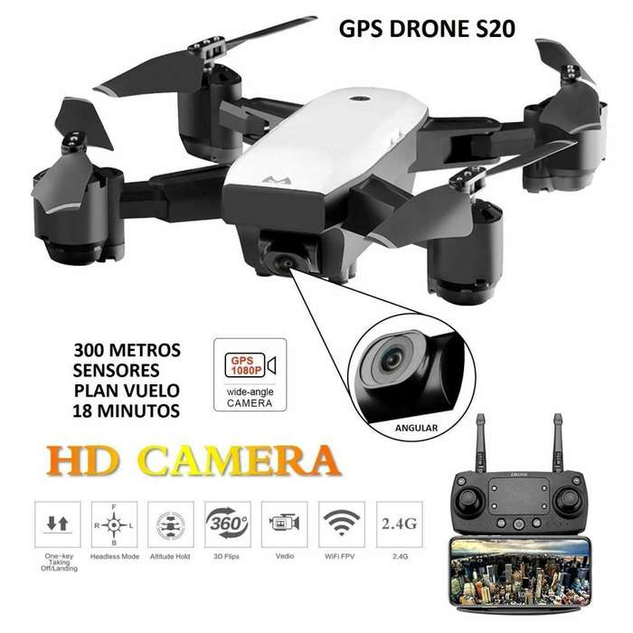 Drone <strong>gps</strong> S20 wifi camara angular HD 1080p 18min sensores vuelo 2019