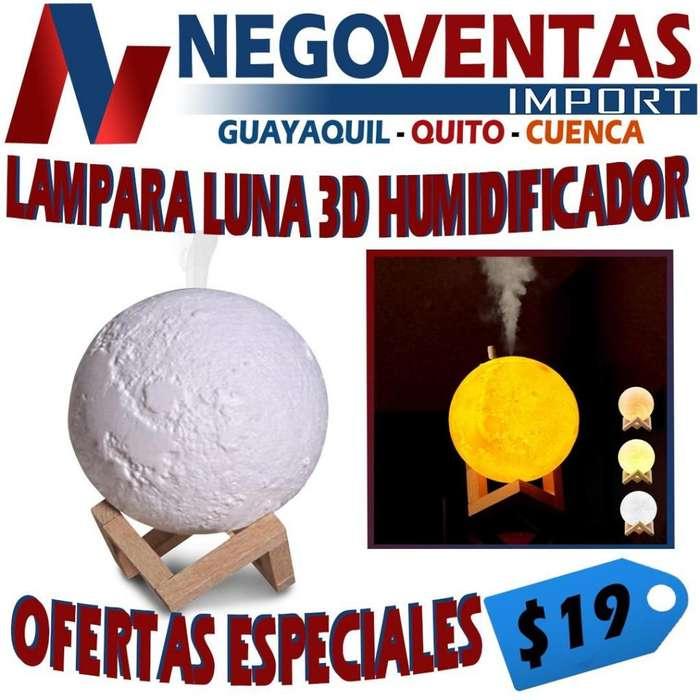LÁMPARA LUNA 3D HUMIDIFICADOR AMBIENTADOR DE HOGAR